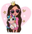 cartoon girl princess in a pink glasses with vector image vector image
