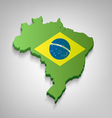 Dimensional Brazilian Map With Flag vector image vector image