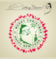 drawing of a stamp of the silhouette of santa vector image vector image