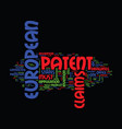 european patent text background word cloud concept vector image vector image