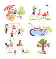 family summer outdoor activity and recreation vector image vector image