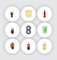 flat icon soda set of bottle cup lemonade and vector image vector image