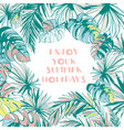 frame pattern ink hand drawn tropical palm vector image