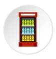 Fridge with drinks icon flat style vector image