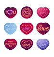 glowing neon valentine signs sticker pack vector image vector image