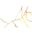 gold kintsugi design isolated on white backdrop vector image vector image