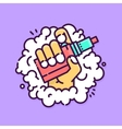 Graphic hand holding vape device on smoke vector image