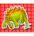 Green dinosaur on red background vector image vector image