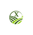 green project solution center initial x vector image vector image