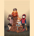 group of problem teenager vector image