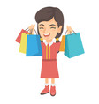 happy caucasian girl holding shopping bags vector image vector image
