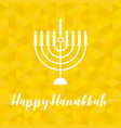 happy hanukah calligraphic with menorah vector image