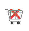 icon concept of x mark inside shopping cart vector image vector image