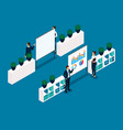 isometric office furniture front view rear view vector image vector image
