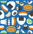 japanese food seamless pattern such as sushi vector image