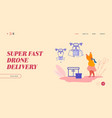 landing page drone transporting package for vector image vector image