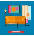 Living room interior in flat style vector image vector image