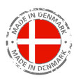 made in denmark flag grunge icon vector image vector image