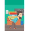 Man with pile of books vector image