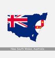 new south wales australia map flag vector image vector image