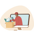 online grocery shopping and fast delivery concept vector image