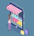 online shopping isometric 3d digital tablet vector image