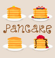 pancakes with berries honey piece of butter vector image