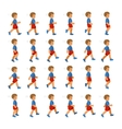 Phases of Step Movements Boy in Walking Sequence vector image