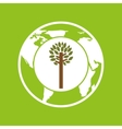 planet earth ecology tree felling icon vector image vector image