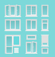 plastic windows flat set vector image vector image
