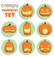 Pumpkin sticker Halloween set vector image