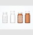 realistic 3d detailed glass medical bottle set vector image vector image