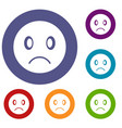 sad emoticons set vector image vector image