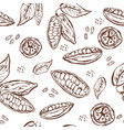 seamless pattern with cocoa pods beans and leaves vector image