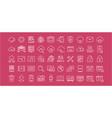 set flat line icons cloud service vector image