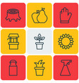 set of 9 agriculture icons includes helianthus vector image