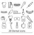 set of dental theme black outline icons eps10 vector image