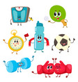 set of funny sports equipment characters cartoon vector image vector image