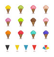 set of simple icons in outline style for gelato vector image