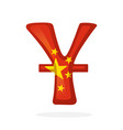 sign yuan in national flag colors with one line vector image vector image