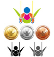 Sport medals and gymnastics double hoops vector image vector image