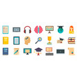 staff education icons set flat style vector image vector image