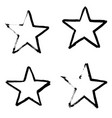 stars hand drawn set isolated on white background vector image vector image