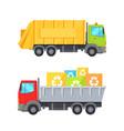 trucks transporting waste set vector image