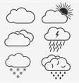 weather line icons symbols sun vector image vector image