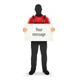 Worker man with blank sign for vector image vector image