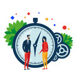 working time two people clock and gears vector image