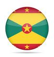 flag of grenada shiny round button vector image