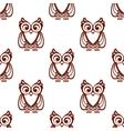 Cartoon brown owl seamless pattern vector image