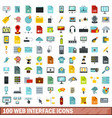 100 web interface icons set flat style vector image